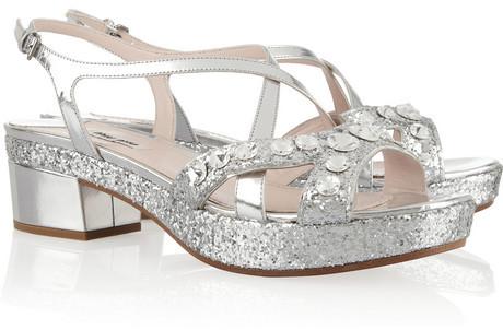 Miu Miu Swarovski crystal-embellished glitter-finished leather sandals