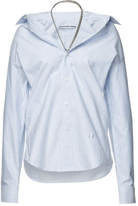Alexander Wang Striped Off-The-Shoulder Cotton Shirt