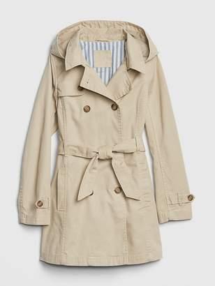 Gap Twill Hoodie Trench Coat