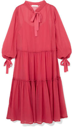 See by Chloe Pussy-bow Cotton And Silk-blend Crepon Maxi Dress - Pink