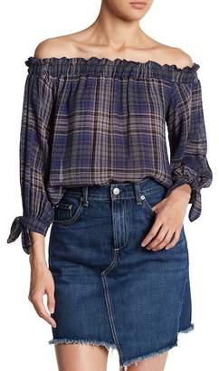 Lush Plaid Off-the-Shoulder Blouse