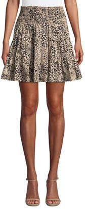 Rebecca Taylor Smocked Leopard-Print Poplin Skirt
