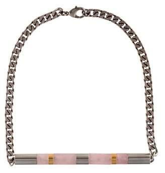 Vita Fede Rose Quartz Cylinder Stone Necklace