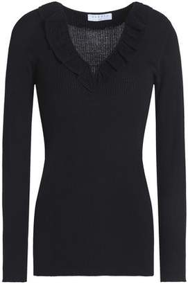 Sandro Ruffle-trimmed Ribbed-knit Top