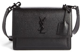 Saint Laurent Medium Sunset Leather Crossbody Bag - Black $2,150 thestylecure.com