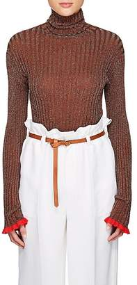 Chloé Women's Ruffled-Cuff Rib-Knit Silk-Blend Turtleneck Top