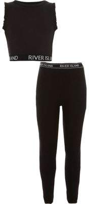River Island Girls RI black crop top and leggings outfit