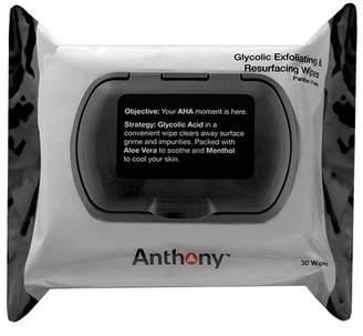 Anthony Logistics For Men Glycolic Exfoliating & Resurfacing Wipes