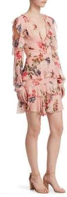 Nicholas Lilac Floral Frill Mini Dress