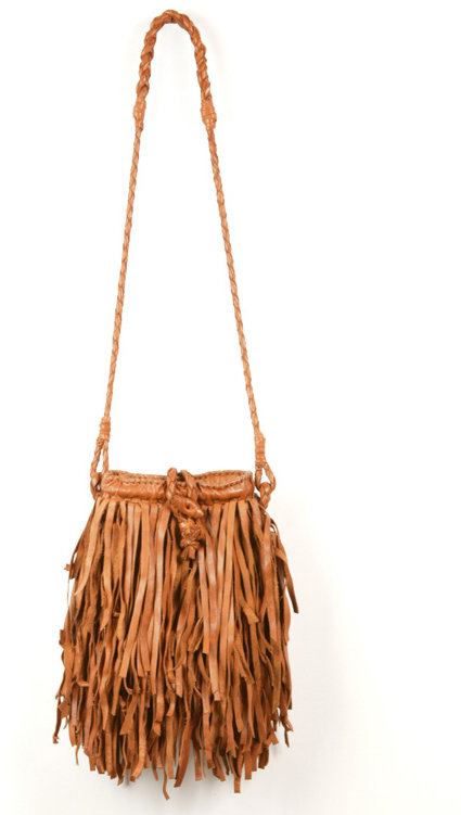 En Shalla Long Fringe Bag - Cognac