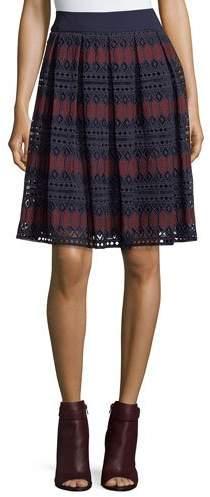 Trina Turk Diamond Lace Full A-Line Skirt