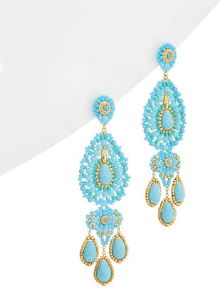 Miguel Ases 18K Plated Turquoise & Crystal Drop Earrings