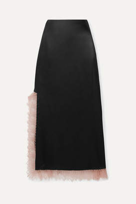 3.1 Phillip Lim Lace-trimmed Satin Midi Skirt - Black