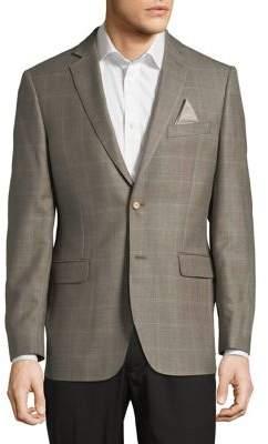 Black & Brown Black Brown Windowpane Notch Lapel Suit Jacket