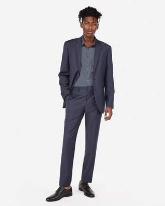 Express Slim Navy Flannel Wool-Blend 365-Comfort Suit Pant