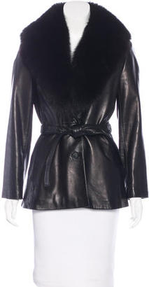 Andrew Marc Fox Trimmed Leather Jacket $395 thestylecure.com