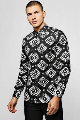 boohoo Navajo Print Brushed Long Sleeve Shirt