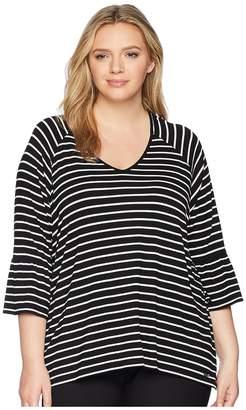 Calvin Klein Plus Plus Size Stripe V-Neck w/ Flare Sleeve Women's Short Sleeve Pullover