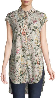 Joan Vass Floral Woven Short-Sleeve High-Low Tunic