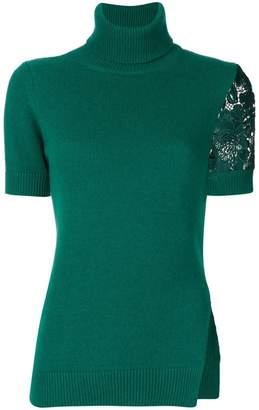 No.21 lace insert turtleneck blouse
