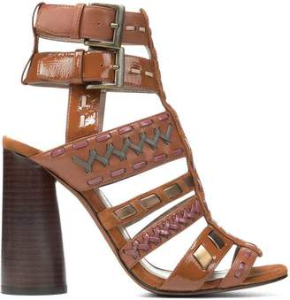 Donald J Pliner BINDY, Nappa and Crinkled Patent Leather Heeled Sandal