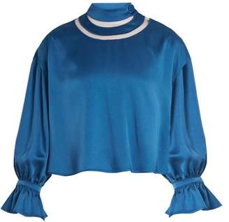Fendi High Cut Out Neck Satin Blouse - Womens - Blue