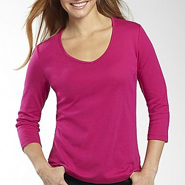 JCPenney St. John's Bay® 3/4 Sleeve V-Neck Tee