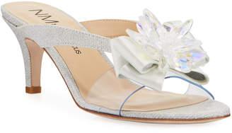 Neiman Marcus Glittered Jewel Low-Heel Slide Sandals