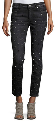 True Religion Halle Embellished Mid-Rise Super Skinny Jeans, Black Moonstone $279 thestylecure.com