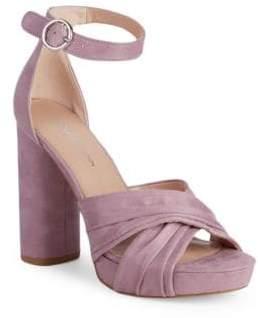 78d4d3893610 BCBGeneration Flora Block-Heel Ankle-Strap Microsuede Sandals