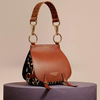 Burberry The Bridle Bag in Leopard-print Calfskin and Leather