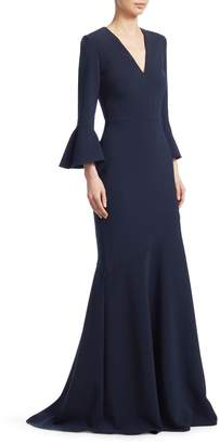 David Meister Bell Sleeve V-Neck Gown