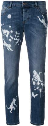 RED Valentino paint splatter effect monkey jeans
