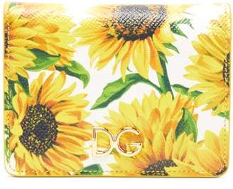 Dolce & Gabbana Sunflower Print Leather Wallet - Womens - White Multi