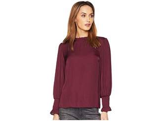 Vince Camuto Long Sleeve Smocked Cuff Ruffle Neck Rumple Blouse