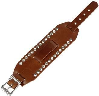Nemesis BSD 44-mm Leather Cuff Band Wide Metal Stud Brown 18-20mm Lug Watch Strap