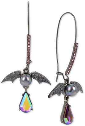 Betsey Johnson Hematite-Tone Crystal & Bead Bat Drop Earrings