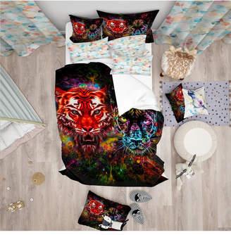 Designart 'Tiger And Panther With Splashes' Modern Kids Duvet Cover Set - King Bedding