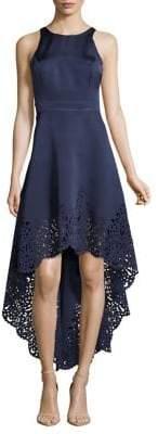 Nicole Miller New York Sleeveless Hi-Lo Laser-Cut Gown