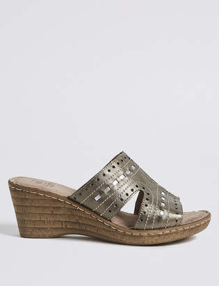 Pixi M&S CollectionMarks and Spencer Wide Fit Leather Wedge Heel Mule Sandals