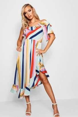 boohoo Asymmetric Bold Stripe Ruffle Hem Midi Dress