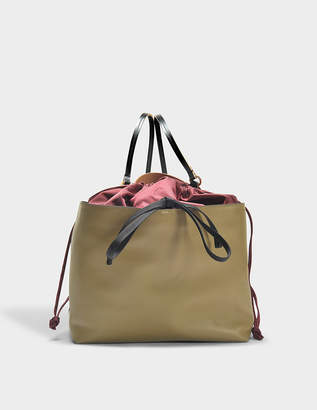 Marni Backpack in Ruby, Sesame and Black Nylon and Nappa Leather