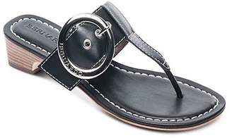 Bernardo Women's Leather Buckle Block Heel Thong Sandals