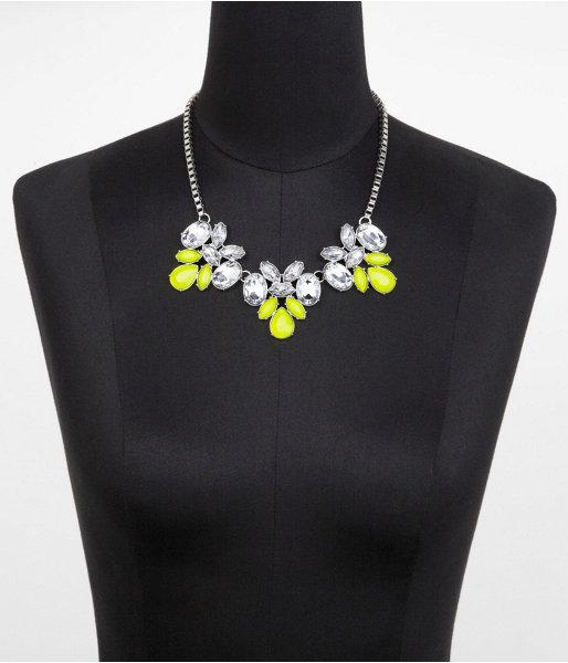 Express Short Three-Row Neon And Rhinestone Necklace