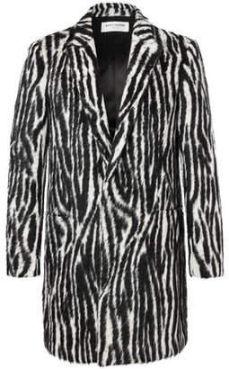 Saint Laurent Slim-Fit Zebra-Print Llama Hair-Blend Coat
