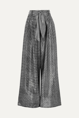 Christopher Kane Lamé Wide-leg Pants - Silver