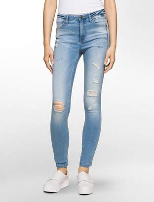 Calvin Klein sculpted destructed light skinny jeans