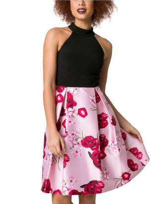 Le Château Women's Floral Print Bengaline & Satin Halter Dress,M,Black/Pink