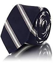 Thom Browne Men's Striped Silk-Cotton Faille Necktie - Navy