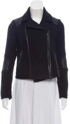 Vince Leather-Trimmed Wool-Blend Jacket